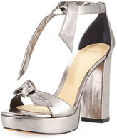 Alexandre Birman Mabeleh Metallic Leather Platform Sandal