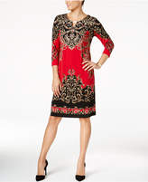 JM Collection Scroll-Print Keyhole Dress, Created for Macy's