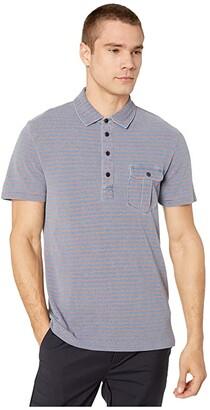 J.Crew Indigo Pique Passyunk Stripe Short Sleeve Pocket Polo (Indigo Brick Passyunk Stripe) Men's Clothing