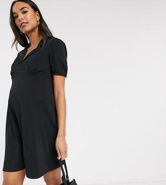 Asos DESIGN Maternity mini tea dress with collar in black