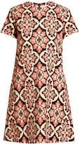 LA DOUBLEJ EDITIONS Tile-print cotton-velvet dress