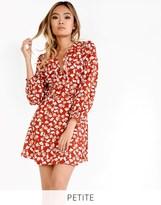 Glamorous Petite Printed Wrap Front Mini Dress