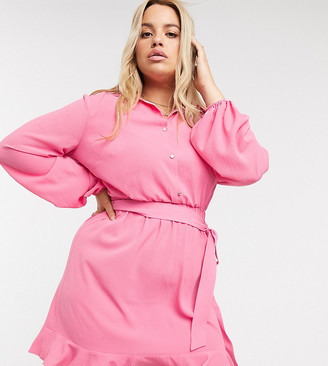 Outrageous Fortune Plus shirt dress with frilly hem in pink