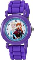 Disney Girl's 'Frozen' Quartz Plastic and Silicone Casual Watch, Color: (Model: WDS000004)