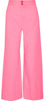 Apiece Apart Cropped Crinkled-cotton Wide-leg Pants - Pink
