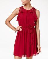 BCX Juniors' Ruffled Lace-Inset Self-Tie Dress