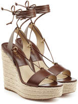 Michael Kors Leather Espadrille Wedge Sandals