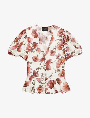 The Kooples Floral-print satin top