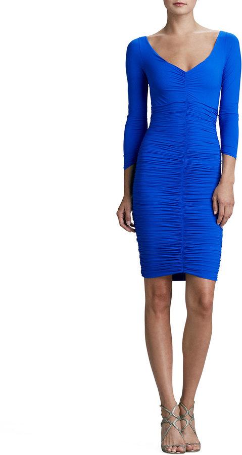 La Petite Robe di Chiara Boni Bridgette 3/4-Sleeve V-Neck Ruched Cocktail Dress, Cobalt