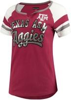 New Era Women's 5th & Ocean by Maroon Texas A&M Aggies Baby Jersey Split Scoop Neck Ringer T-Shirt