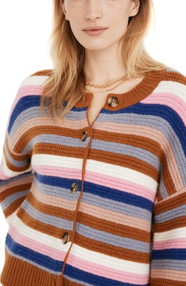 Madewell Coziest Textured Yarn Striped Springview Cardigan Sweater