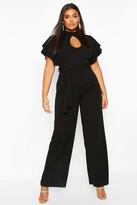 boohoo Plus Keyhole Angel Ruffle Sleeve Jumpsuit