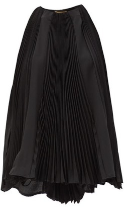 Saint Laurent Pleated Silk-georgette Trapeze Blouse - Black