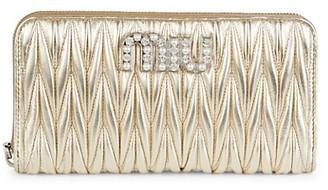 Miu Miu Matelasse Metallic Leather Zip-Around Wallet