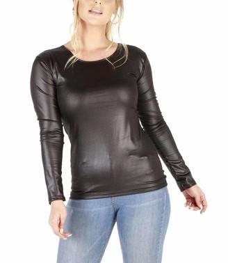 MIXLOT New Ladies Womens Black Wet Look PVC PU Faux Leather Look Long Sleeve Top T-Shirt 8-22 (Black Wetlook XXL 20-22)