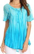 Sakkas 17782 - Siri Ombre Tie Dye Embroidered Sheer Cap Sleeve Relaxed Fit Tunic Top - OSP