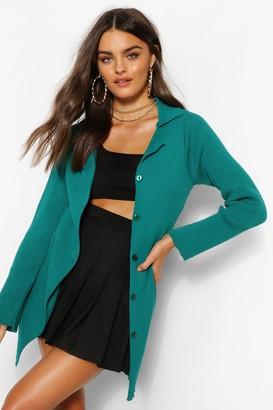 boohoo Button Through Rib Knit Polo Collar Cardigan