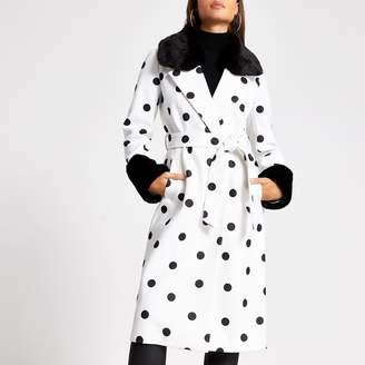 River Island Womens Cream polka dot faux fur trim robe coat