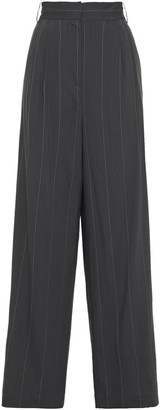 Tibi Pinstriped Linen-blend Wide-leg Pants