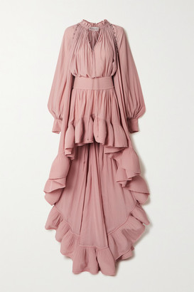 Lanvin Cape-effect Embellished Ruffled Crepe Gown - Pink