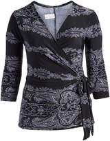 Glam Black & White Paisley Wrap Top - Plus