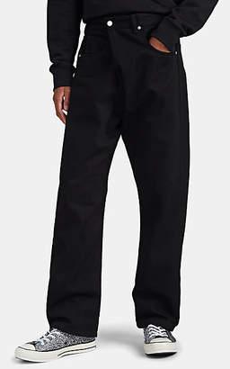 J.W.Anderson Men's Fold-Over Wide-Leg Jeans - Black