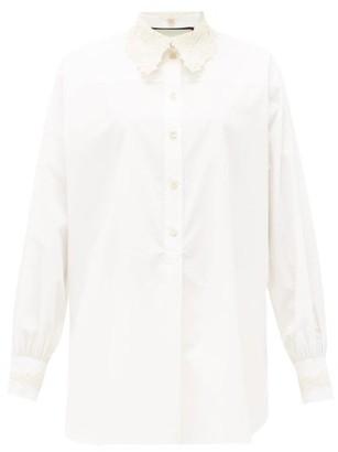 Gucci Macrame-collar Cotton-poplin Henley Blouse - White