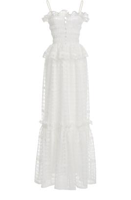 Philosophy di Lorenzo Serafini Women's Lace-Trimmed Shirred Tulle Peplum Maxi Dress - White - Moda Operandi