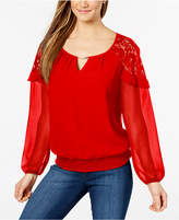 Thalia Sodi Lace-Inset Keyhole Top, Created for Macy's