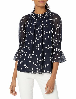 Rebecca Taylor Women's Long Sleeve Floral Embroidered Blouse