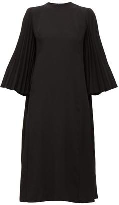 Valentino Back-pleated Crepe Midi Dress - Black