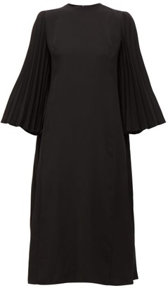 Valentino Back-pleated Crepe Midi Dress - Womens - Black