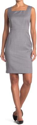 HUGO BOSS Digela Blurred Minidessin Wool Sheath Dress