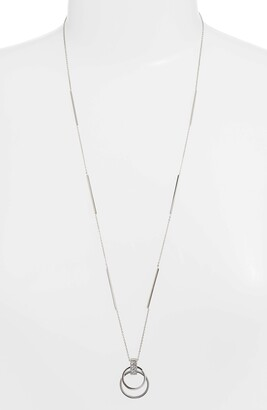 Knotty Crystal Open Circle Pendant Necklace