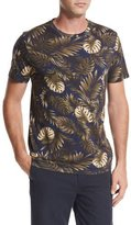 Vince Leaf-Print Crewneck Pima Cotton T-Shirt, Navy