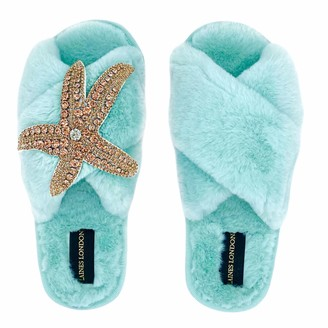 Laines London Ice Blue Fluffy Slippers Rose Gold Starfish Brooch