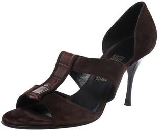 Salvatore Ferragamo Dark Brown Strap Open Toe Sandals Size 41.5