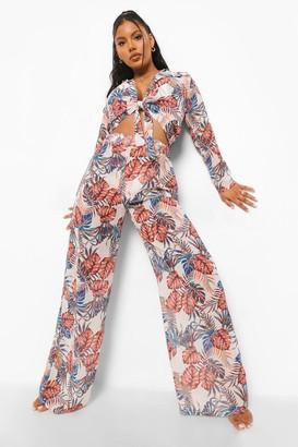boohoo Tropical Woven Beach Trouser