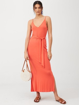 Very Strappy Belted MidiDress - Coral