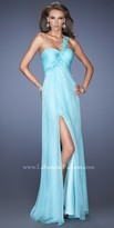 La Femme One Shoulder High Slit Prom Dress