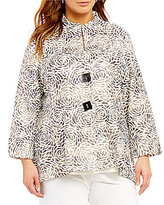 IC Collection Plus Two Button Front Floral Jacket
