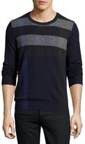 Burberry Feldon Graphic Check Cashmere-Cotton Sweater, Navy