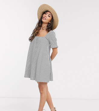Asos DESIGN Petite square neck frill sleeve smock dress in navy and cream stripe