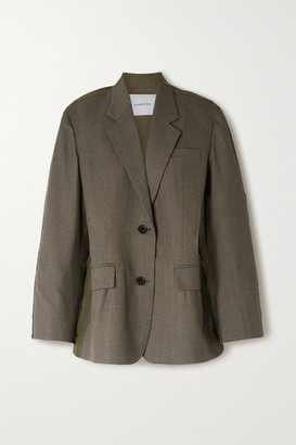 pushBUTTON Paneled Prince Of Wales Checked Wool-blend And Cotton Blazer - Army green