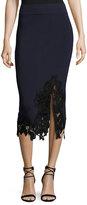 Jonathan Simkhai Applique Knit Midi Pencil Skirt, Black
