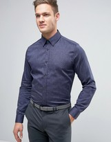 Ted Baker Slim Denim Shirt With Pindot
