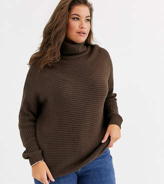 Vero Moda Curve chunky roll neck sweater in chocolate