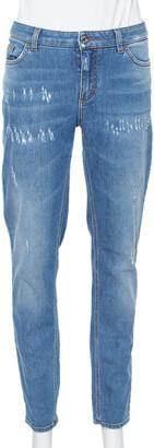 Dolce & Gabbana Blue Denim Faded Skinny Distressed Pretty Jeans L