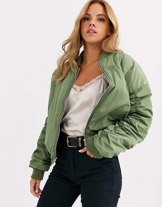 Daisy Street oversized bomber jacket with ruching-Green