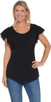 Isaac Mizrahi Live! Flutter Sleeve Knit Tunic with Lace Trim